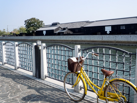 Handa canal and a rental bicycle